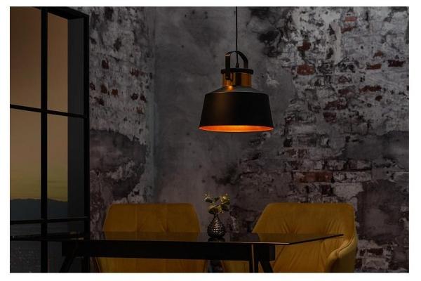 Závěsná lampa Luz I 28cm černo zlatá