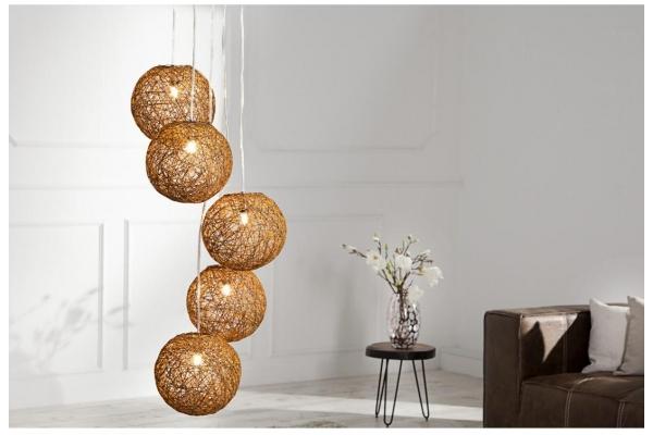 Závěsná lampa Cocooning Pearls 5 kusu přirodní hnědá