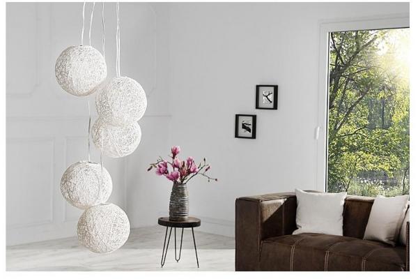 Závěsná lampa Cocooning Perly 5 kusu bílá
