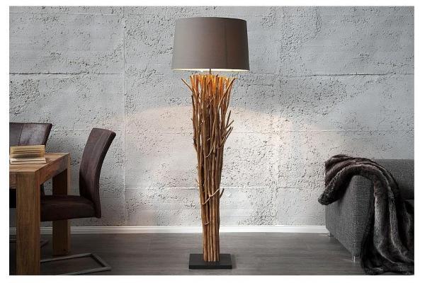 Stojací lampa přírodním dřevě Euforie hnědá 175cm