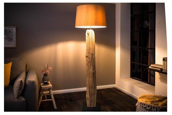 Stojací lampa v přírodním dřevě rousilique béžová