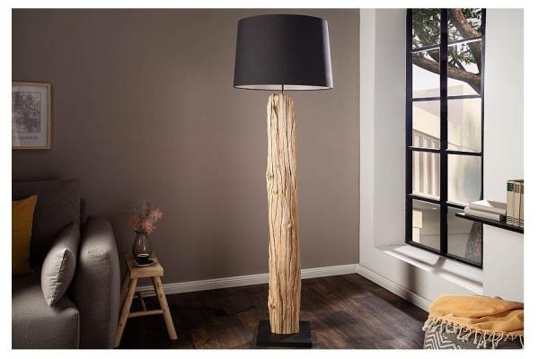 Stojací lampa v  přírodním dřevě rousilique černá