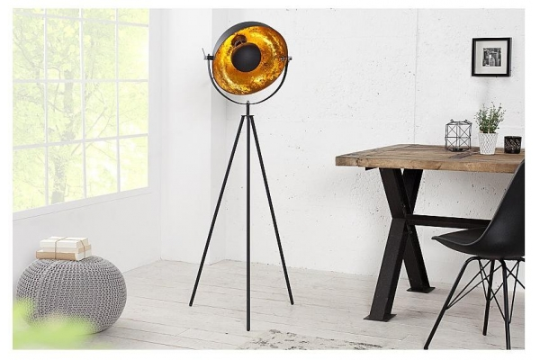 Stojací lampa studio černá zlatá 145cm