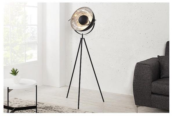 Stojací lampa Studio černá stříbrná 145cm