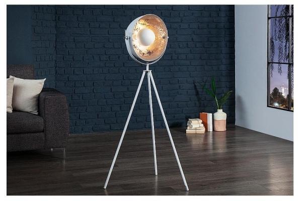 Stojací lampa Studio bílá stříbrná 145cm