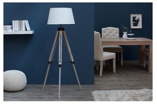 Stojací lampa Sylt béžové masivní dřevo 100-145cm