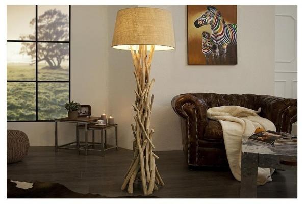 Stojací lampa divoká příroda z naplaveného dřeva 155cm