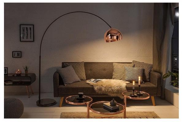 Stojací lampa Big Bow růžové zlato 170-210cm
