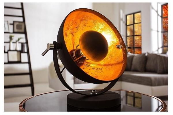 Stolní lampa studio černá zlatá 40cm