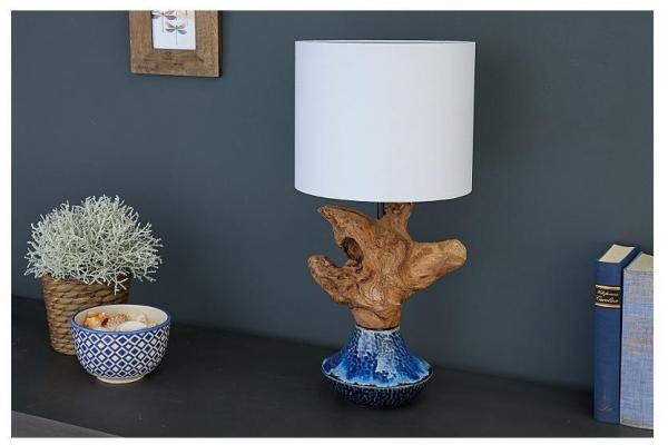 Stolní lampa symbióza keramiky a naplaveného dřeva 50cm