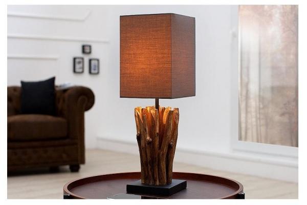 Stolní lampa z naplaveného dřeva Euphoria šedohnědá