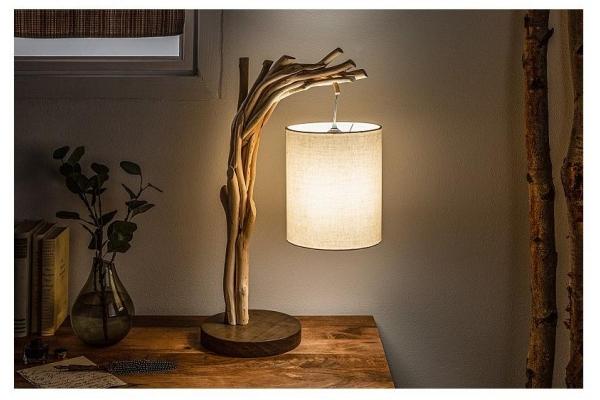 Stolní lampa divoká příroda z naplaveného dřeva 60cm