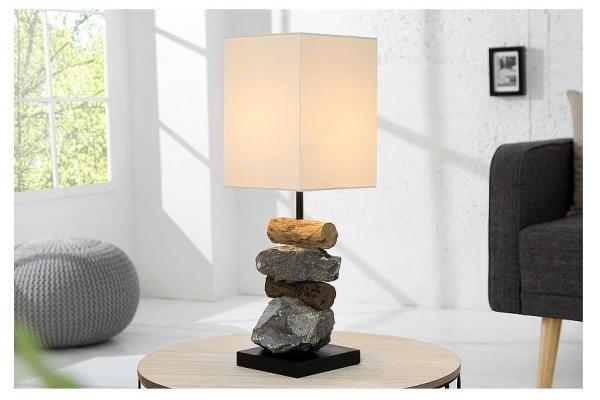 Stolní lampa z naplaveného dřeva a kamene bílá