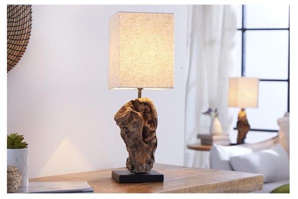 Stolní lampa z masivního dřeva Hypnotic béžová