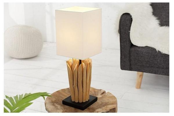Stolní lampa z přírodního dřeva Euforie bílá