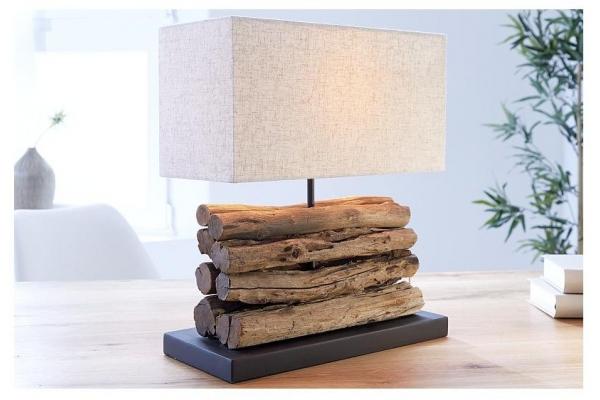 Stolní lampa z přírodního dřeva Perifere béžová