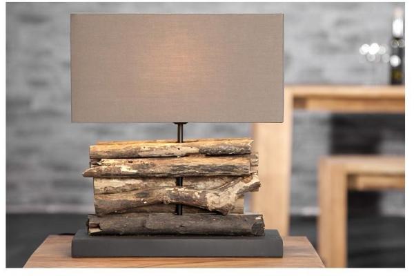 Stolní lampa z přírodního dřeva Perifere hnědá