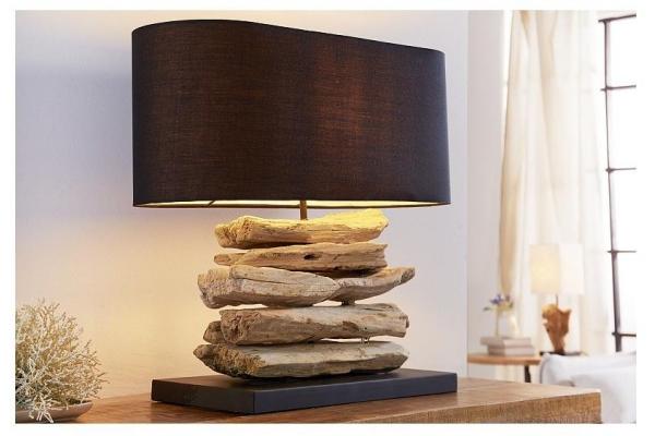 Stolní lampa z přírodního dřeva Perifere černá