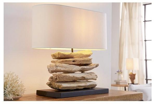 Stolní lampa v přírodního dřevě Riverine Bílá