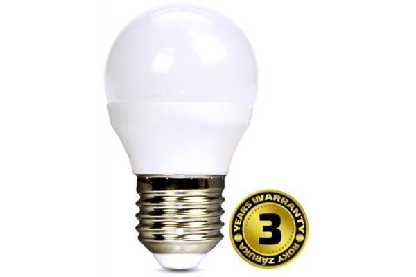Solight LED žárovka, miniglobe, studená bílá 6W, E27, 6000K, 450lm