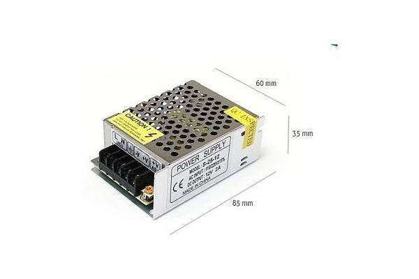 Napájecí zdroj pro LED pásky 2A 24W 12V DC plech