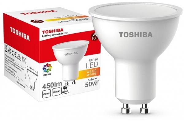 TOSHIBA LED žárovka - Berge - GU10 - CCD - 5,5W - 450Lm - teplá bílá - záruka 5let