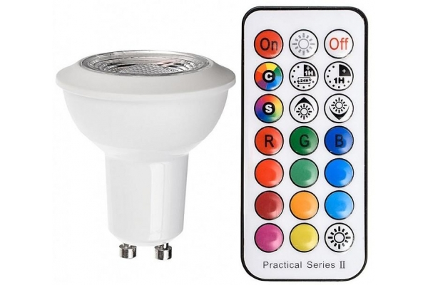 LED žárovka GU10 - Berge - 3W - 190Lm - RGB + neutrální bílá