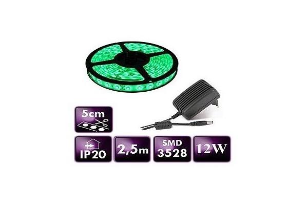 BERGE LED pásek - SMD 3528 - 2,5m - 60LED/m - 12W - IP20 - zelený - zdroj SADA