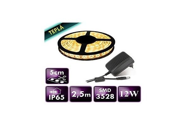 BERGE LED Pásek - SMD 3528 - 2,5m - 60LED/m - 12W - teplá bílá - IP65 - zdroj SADA