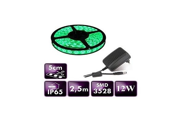 BERGE LED pásek - SMD 3528 - 2,5m - 60LED/m - 12W - IP65 - zelený - zdroj SADA