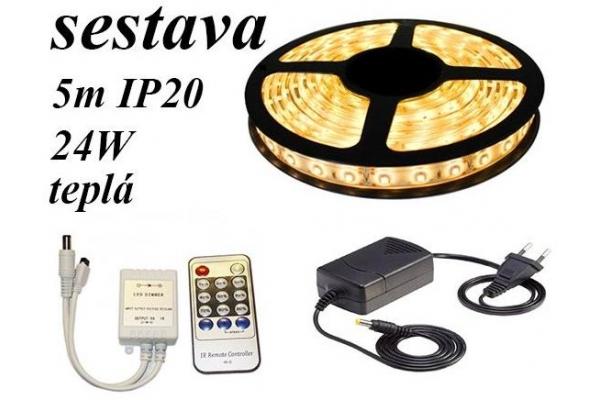 BERGE LED pásek 5m 60LED/m 4,8W/m IP20 1600Lm teplá bílá + stmívač IR + zdroj - SADA