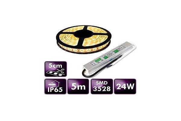 BERGE LED pásek - SMD 3528 - 5m - 300/5m - 4,8W/m - IP65 - teplá bílá + zdroj IP67 SADA