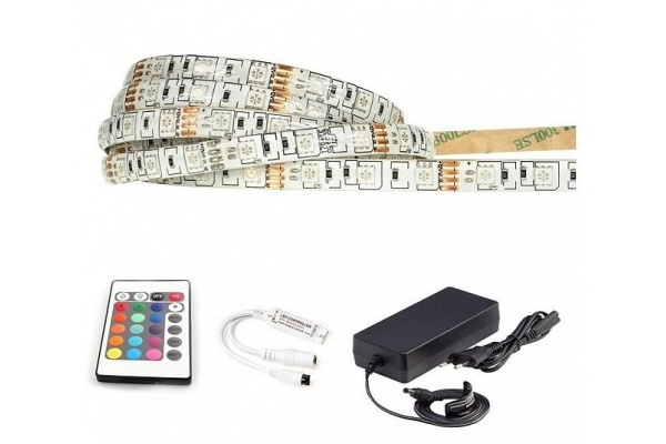 BERGE LED pásek - RGB 5050 - 2,5m - 60LED/m - 7,2W -IP65 - komplet