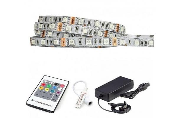 BERGE LED pásek - RGB 5050 - 2,5m - 60LED/m - 36W - IP20 - IR20 - SADA