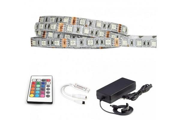 BERGE LED pásek - RGB 5050 - 5m - 60LED/m - 14,4W/m - IP65 - komplet