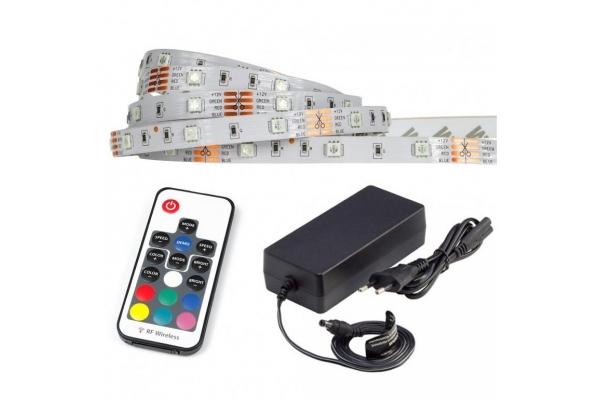 LED pásek - RGB - 5m - 30LED/m - IP20 - rádiový DÁLKOVÝ OVLADAČ K17 - komplet