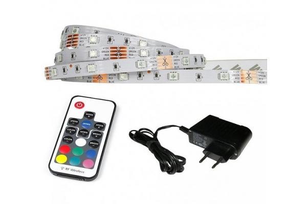 LED pásek - RGB - 2,5m - 30LED/m - IP20 - rádiový DÁLKOVÝ OVLADAČ K17 - komplet