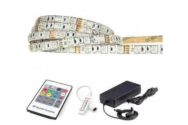BERGE LED pásek - SMD 5050 - RGB - 5m - 60LED/m - 14,4W/m - 1400Lm - IP65 - SADA
