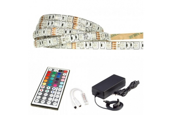 BERGE LED pásek - RGB 5050 - 2,5m - 60LED/m - 14,4W/m -IP65 - komplet - ovládání 44 tlačítek