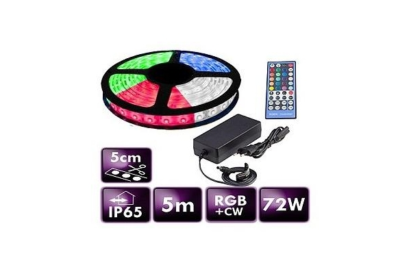 BERGE LED pásek - RGB+CW - 5m - 60LED/m - 14,4W/m - 3000Lm - IP65 - SADA