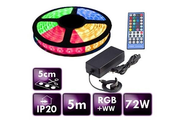 BERGE LED pásek - RGB+WW - SMD 5050 - 5m - 60LED/m - 14,4W/m - 2800L - IP20 - SADA