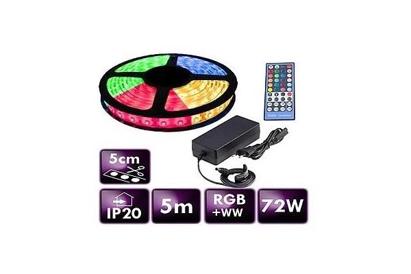 BERGE LED pásek - RGB+WW - SMD 5050 - 5m - 60LED/m - 14,4W/m - 2800Lm - IP65 - SADA