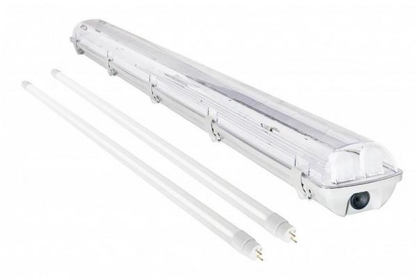 Hermetické svitidlo + 2x LED trubice - T8 - 120cm - 18W - teplá bílá - SADA