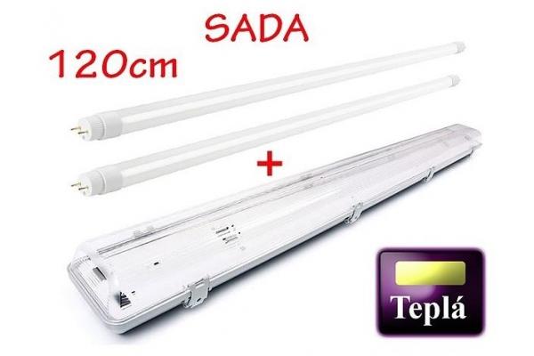 BERGE Svitidlo + 2x LED trubice - T8 - 120cm - 18W - 3240Lm - teplá bílá - SADA