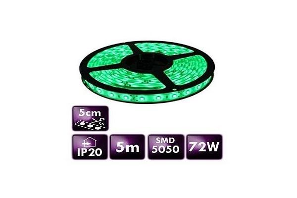 BERGE LED pásek - SMD 5050 - 5m - 60LED/m - 14,4W/m - IP20 - zelený