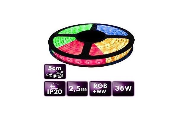 BERGE LED pásek - SMD 5050 - RGB+WW - 2,5 m - 60 LED/m - 14,4 W/m - IP20